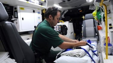 Ambulance paramedic Adam McCoy at the Emergency Department of The Canberra Hospital.
