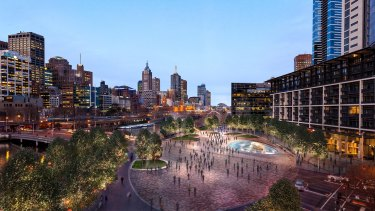 Crown Casino's plan for an upgraded Queensbridge Square as part of its hotel plan.