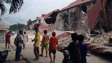 The damaged Church of San Pedro in the town Loboc, Bohol.