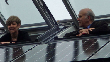Sir Vince Cable promoting solar panels.