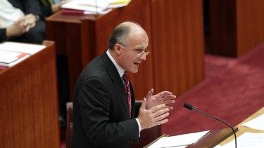 Liberal Senator Eric Abetz during the debate on asylum seekers in the Senate today.