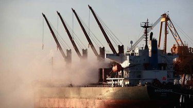 A ship is loaded at the Rio Tinto alumina refinery in Gove.