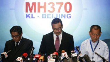 """Into thin air"": Malaysian Defence Minister Hishammuddin Hussein (centre) at Thursday's news conference with with civil aviation chief  Azharuddin Abdul Rahman (left) and Malaysia Airlines chief executive Ahmad Jauhari Yahya."