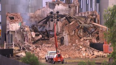 Part of the Albion flour mill is demolished.
