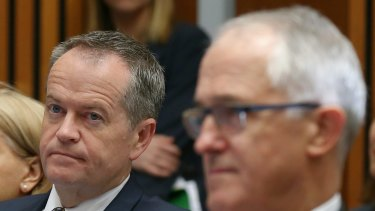 Opposition Leader Bill Shorten and Prime Minister Malcolm Turnbull at a family violence event on Tuesday.
