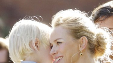 Famous friends ... Naomi Watts and son attend Emma Cooper's wedding in Sydney.