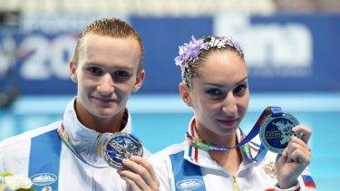 Not happy: silver medallists Aleksandr Maltsev and Darina Valitova of Russia.