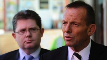 Tony Abbott with Victorian Senator Scott Ryan, parliamentary secretary for education. The federal government may axe funding for a youth unemployment initiative that has helped thousands of at-risk young people.