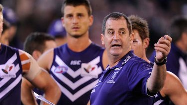 Job to do: Fremantle coach Ross Lyon directs his Dockers.