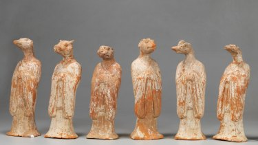 Twelve zodiac animals 700s earthenware unearthed from a Tang-era tomb at Xian University of Technology, Shaanxi Provincial Institute of Archaeology, is on display at the Art Gallery of NSW in the Tang: treasures from the silk road capital, 9 April to 10 July 2016.