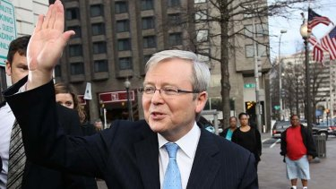 Farewell but not goodbye … Kevin Rudd leaving the Willard hotel in Washington to return to Australia and a possible tilt at the leadership.