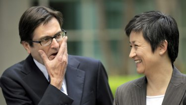 Winners … Greg Combet with Penny Wong.