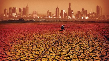 Five degrees hotter... our  climate in 90 years. Digital illustration
