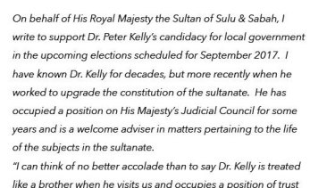 Peter Kelly's endorsement from Prince Omar Kiram, cousin of the Sultan of the self-styled Sultanate of Sulu and Sabah.