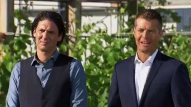'The faster you harvest, the more time you'll have to cook' ... MKR judges Colin Fassnige, left, and Pete Evans announce that 100 community gardeners will be arriving to eat canapes in three hours.