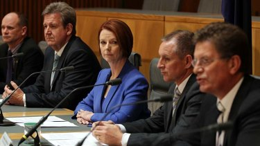 At odds ... Queensland Premier Campbell Newman, NSW Premier Barry O'Farrell, Prime Minister Julia Gillard, South Australian Premier Jay Wetherill and Victorian Premier Ted Baillieu.