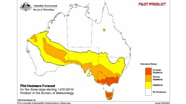 The bureau's new heatwave service points to some extreme conditions from Tuesday onwards.