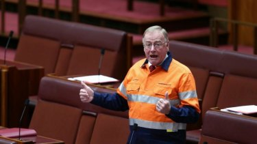 """Disorderly"": Liberal Senator Ian Macdonald donned a high-vis ""Australians for Coal"" provided by the Minerals Council shirt during debate."