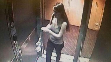 CCTV footage of Sophie Collombet captured last Thursday morning.