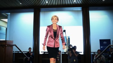 Foreign Minister Julie Bishop at Parliament House on Wednesday.