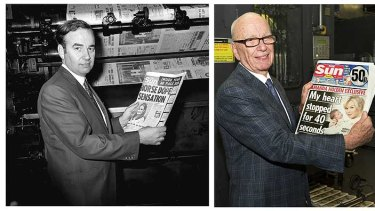 Rupert Murdoch with the first edition of The Sun in 1969 and with the first edition of The Sun on Sunday last night.