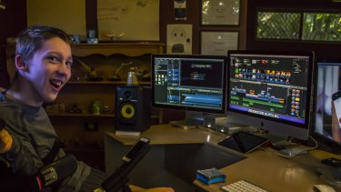 Very cool: Christopher Hills in his workspace.