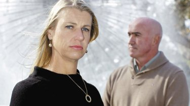 """""""I remember walking up the hill, then ... nothing"""" … Samantha Barlow and her husband, Laurence, in Sydney's Kings Cross, not far from where she was attacked."""