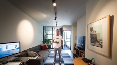 Melbourne illustrator Guy Shield in his one-bedroom apartment in Melbourne.