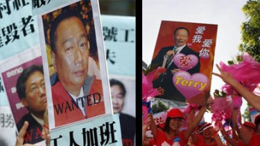 Before and after... only months ago Foxconn workers were rallying against the company.