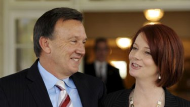 Julia Gillard with her partner Tim Mathieson.