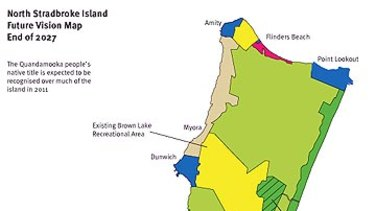The national park zoning of North Stradbroke Island.