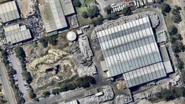 This aerial image, shot in February, shows recycling piling up at SKM's Coolaroo site.