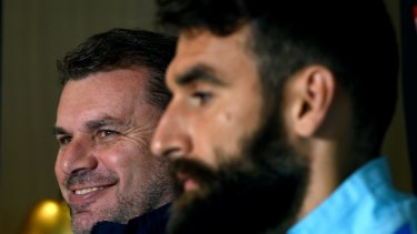 Grounds for concern: Socceroos coach Ange Postecoglou and captain Mile Jedinak.