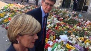 Julie Bishop arrives at the Dutch embassy in Kiev.