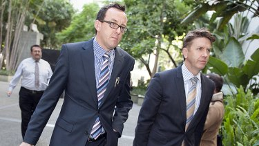 Solicitors for Gerard Baden-Clay, Darren Mahony and Jason Jacobson arrive at court today.