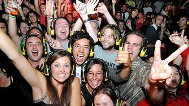 Music lovers party at a silent disco at the Big Day Out.