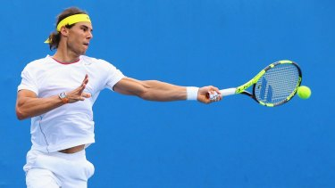 Challenge: Rafael Nadal has a practice session at Melbourne Park before the Australian Open.