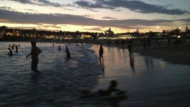 Bondi Beach after the sun went down on Tuesday night.