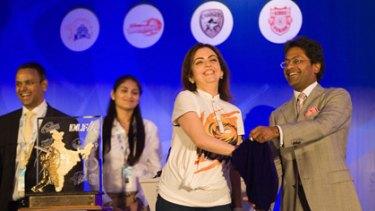 Nita Ambani, owner of the Mumbai Indians, and Lalit Modi, of the IPL, at the auction.