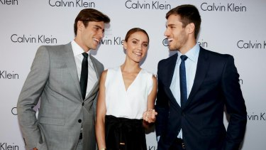 Zac and Jordan Stenmark with Rachael Finch at the Calvin Klein White Label launch.