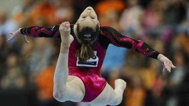 Lauren Mitchell in the women's floor finals at the Artistic Gymnastics World Championships in Rotterdam.