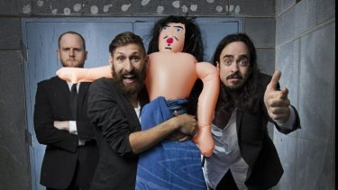 Adolescent humour: Broden Kelly, Mark Samuel Bonanno and Zachary Ruane perform as Aunty Donna at the Melbourne International Comedy Festival.