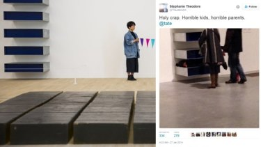 Left: an artist performs live art alongside 'Untitled' by Donald Judd, at the Tate Modern this year. Right: This photo of children climbing over a Donald Judd sculpture was posted on Twitter.