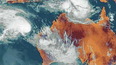 The latest satellite image shows storms across the Goldfields and cyclone Diane off the north-west coast.