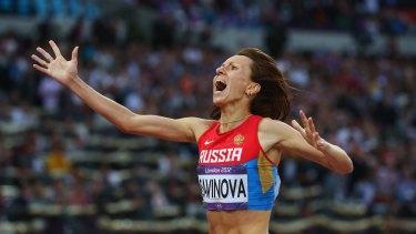 Scandal: Mariya Savinova celebrates winning gold in the 800 metres at the London Olympics.