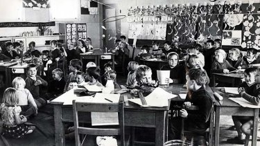 All together now … 80 children cram into one classroom at Villawood Public School in 1969.