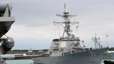 The Arleigh Burke-class guided-missile destroyer USS Ross. The United States fired a barrage of cruise missiles into Syria on Thursday night.