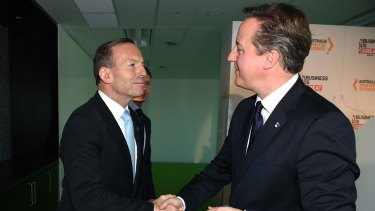 Hosting world leaders: Prime Minister Tony Abbott with British Prime Minister David Cameron at an event in Sydney on Friday ahead of the G-20 meeting in Brisbane.
