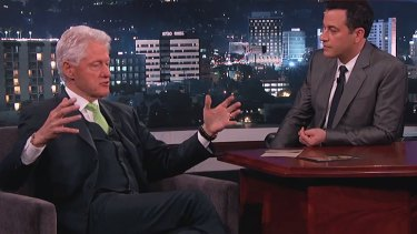 <i>Jimmy Kimmel Live</i> surprise admission ... Ex-President Bill Clinton checked there were no aliens being kept at Roswell but says a visit in the future is possible.