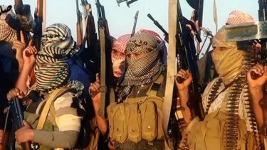An image from a video uploaded by the Islamic State of Iraq and the Levant, which they say shows militants near Tikrit.